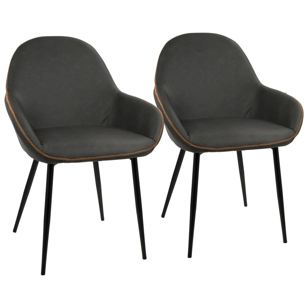 Favorite Grey Dining Chairs In Lumisource Black And Grey Clubhouse Vintage Faux Leather Dining (#4 of 20)