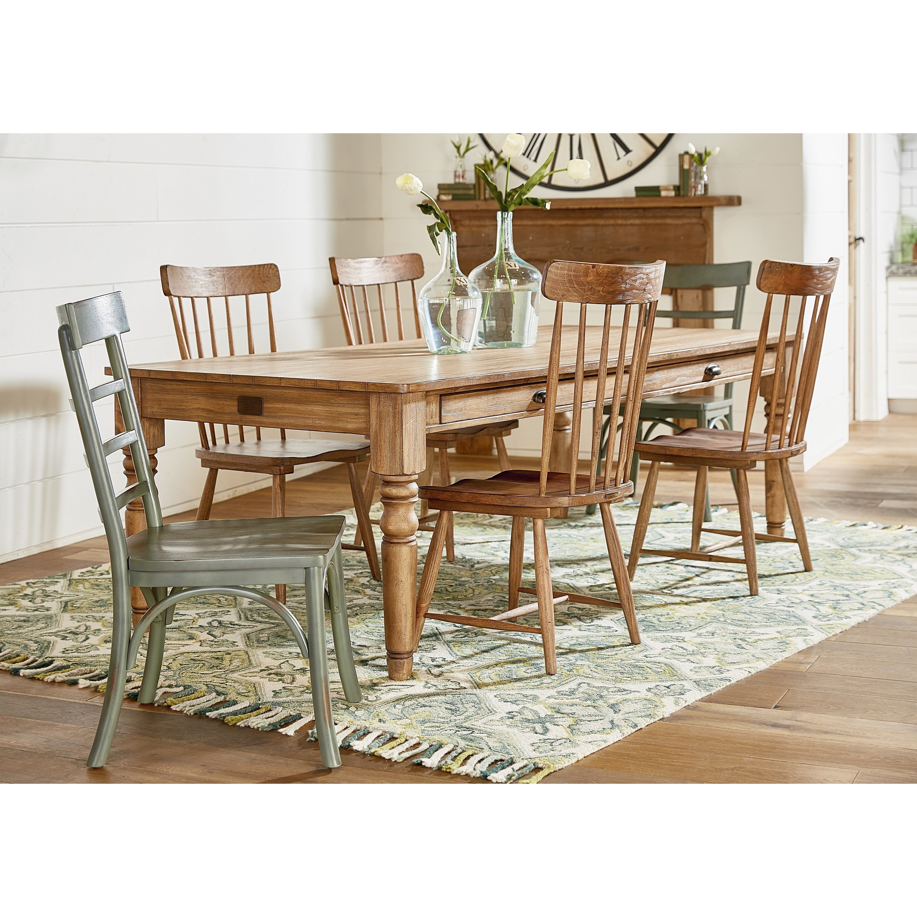 Favorite Magnolia Homejoanna Gaines Primitive 8' Dining Table And Chair With Magnolia Home Spindle Back Side Chairs (#5 of 20)