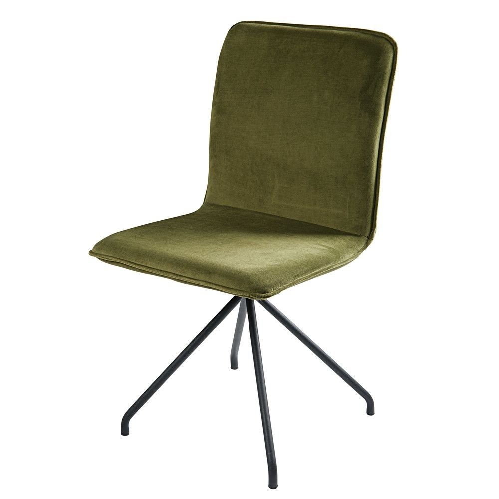 Favorite Olive Green Velvet And Black Metal Chair (View 2 of 20)