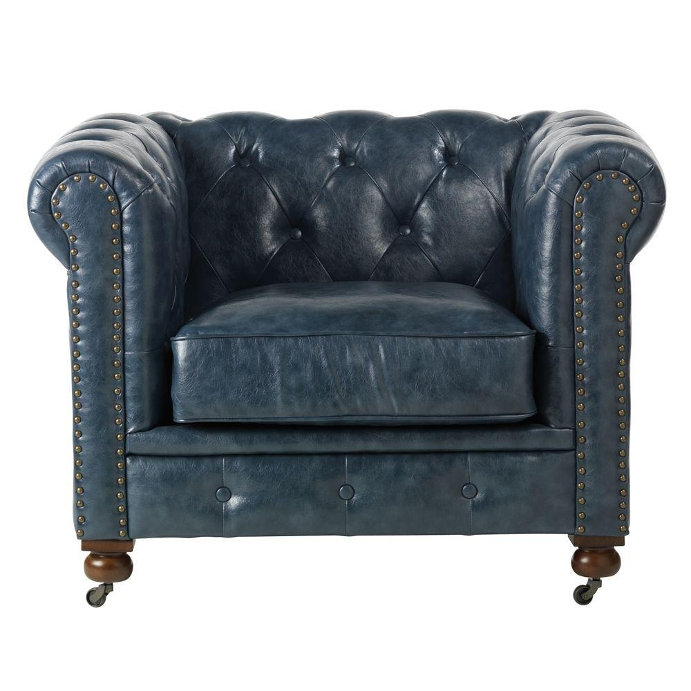 Favorite Pilo Blue Side Chairs Within Home Decorators Collection Gordon Blue Leather Arm Chair (View 17 of 20)