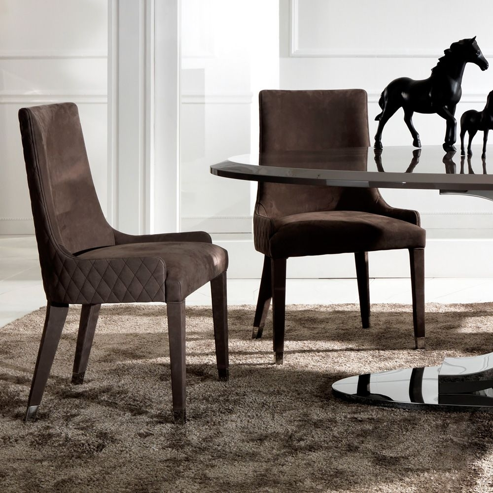 Favorite Quilted Brown Dining Chairs With Quilted Nubuck Leather Italian Dining Chair (View 6 of 20)