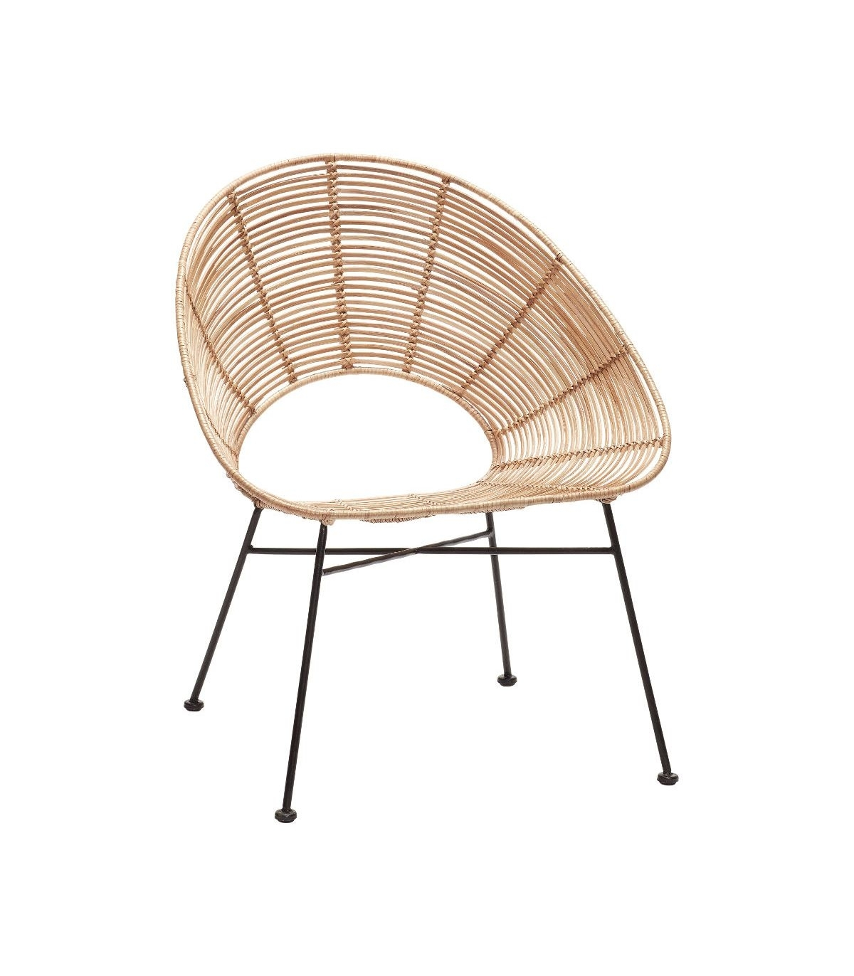 Favorite Round Chair Natural Rattan & Metal Hübsch Inside Natural Rattan Metal Chairs (View 8 of 20)