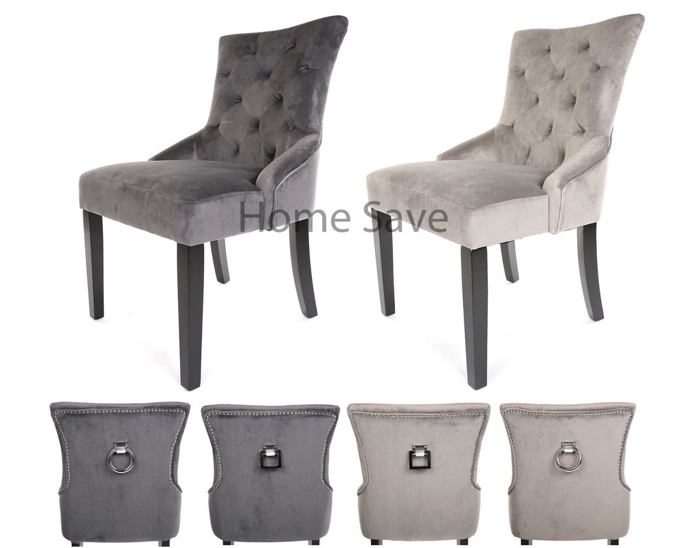 Favorite X 2 New Velvet Scoop Back Dining Chair Pair Light Or Deep Grey Stud For Grey Dining Chairs (#5 of 20)