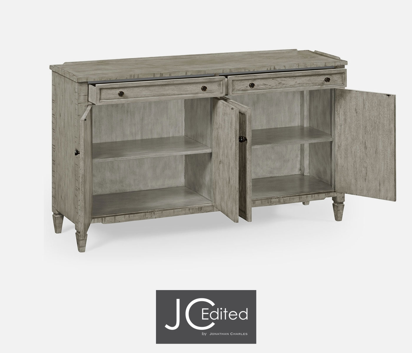 Four Door Sideboard In Rustic Grey Pertaining To Current Vintage Finish 4 Door Sideboards (View 17 of 20)