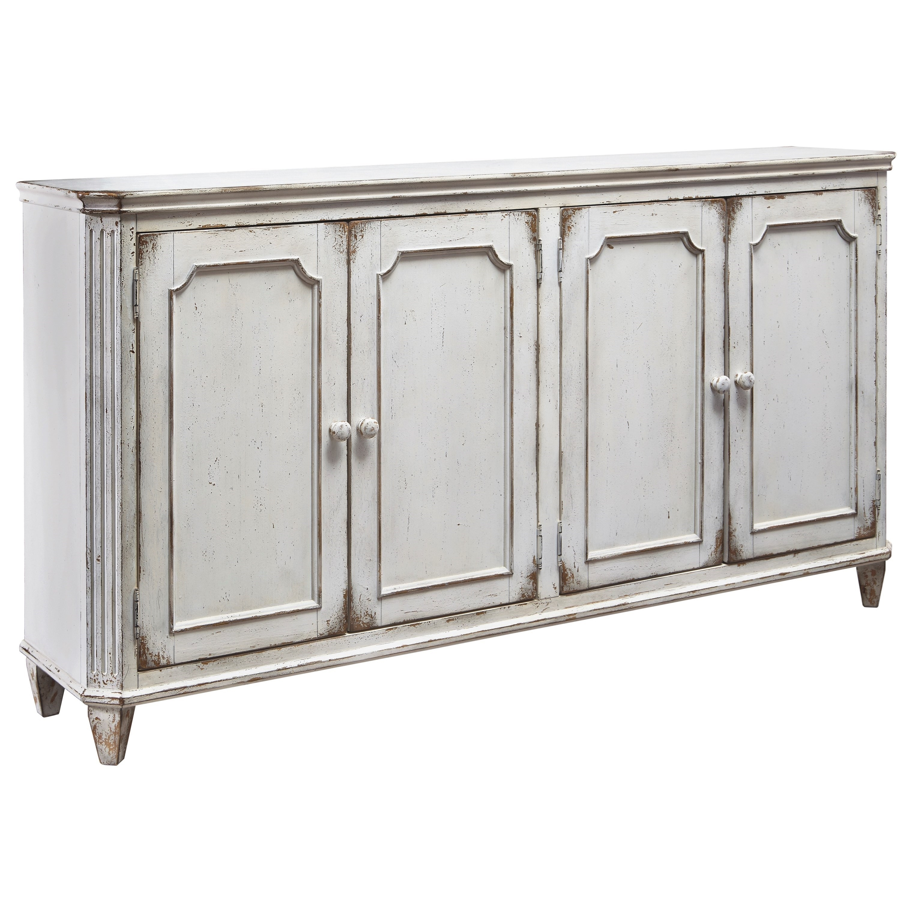 French Provincial Style Door Accent Cabinet In Antique White Finish For Most Popular Vintage Finish 4 Door Sideboards (View 3 of 20)