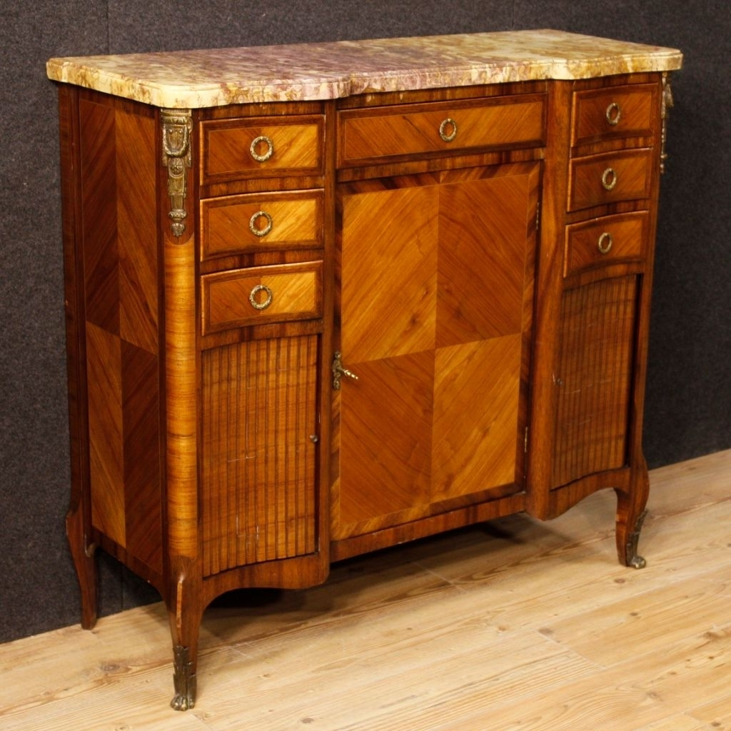 French Sideboard In Wood With Gilded Bronze Details And Marble Top Throughout Newest Rossi Large Sideboards (#6 of 20)