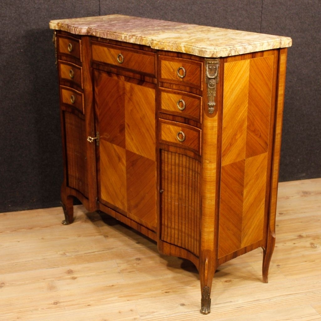 French Sideboard In Wood With Gilded Bronze Details And Marble Top With Regard To Most Popular Rossi Large Sideboards (#7 of 20)