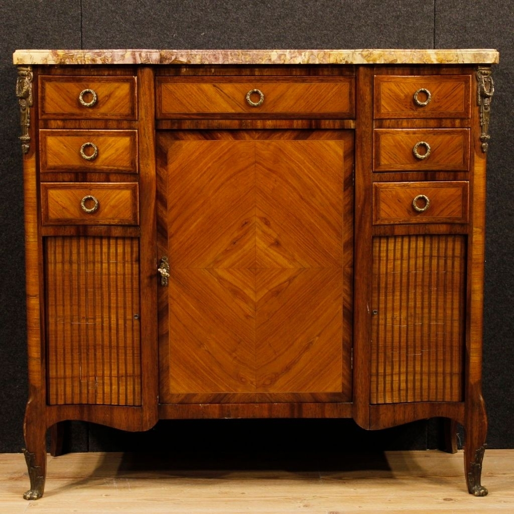 French Sideboard In Wood With Gilded Bronze Details And Marble Top Within Most Current Rossi Large Sideboards (#8 of 20)