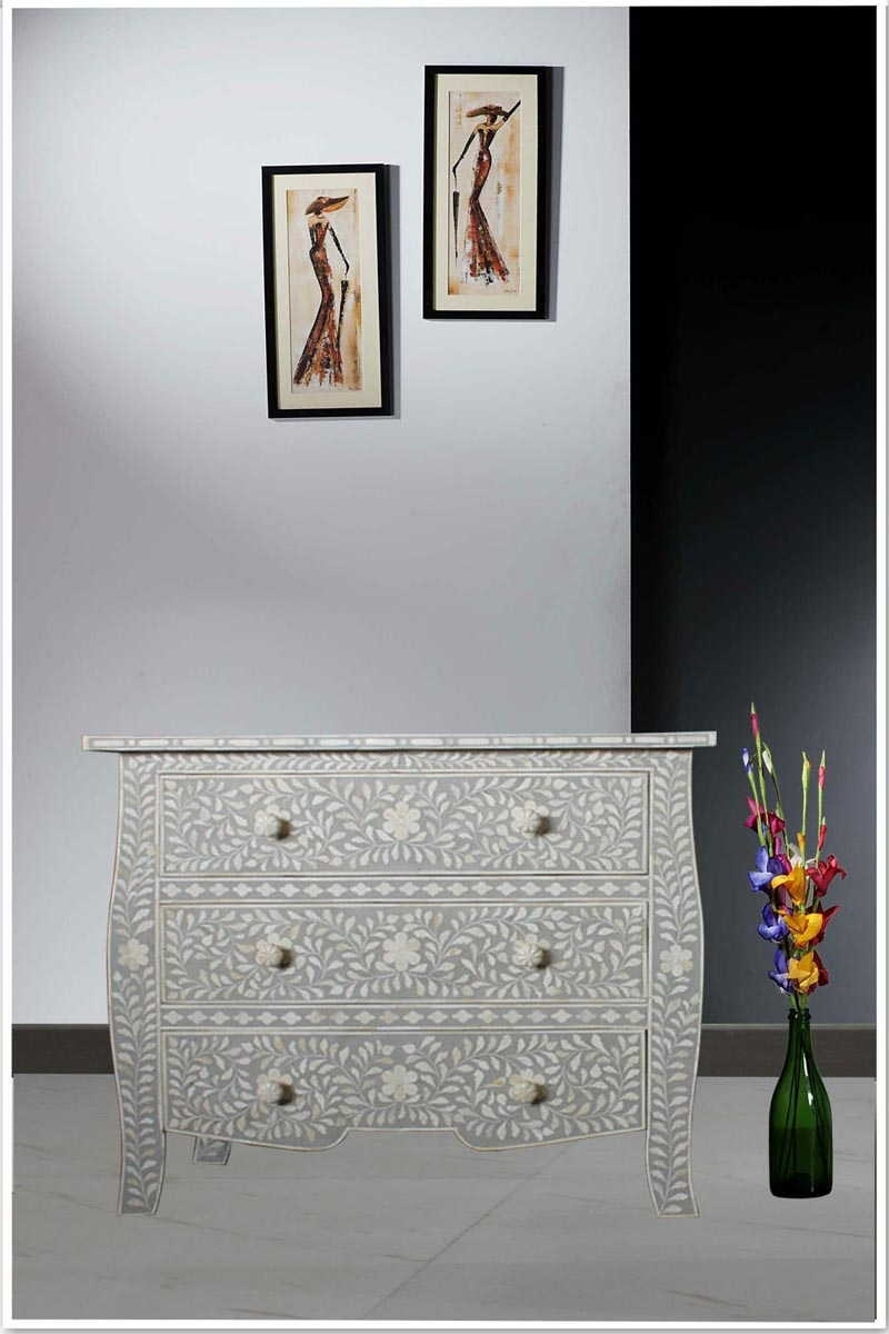 French Style Light Grey Bone Inlay Three Drawer Chest With Most Recent Geo Pattern Black And White Bone Inlay Sideboards (View 9 of 20)