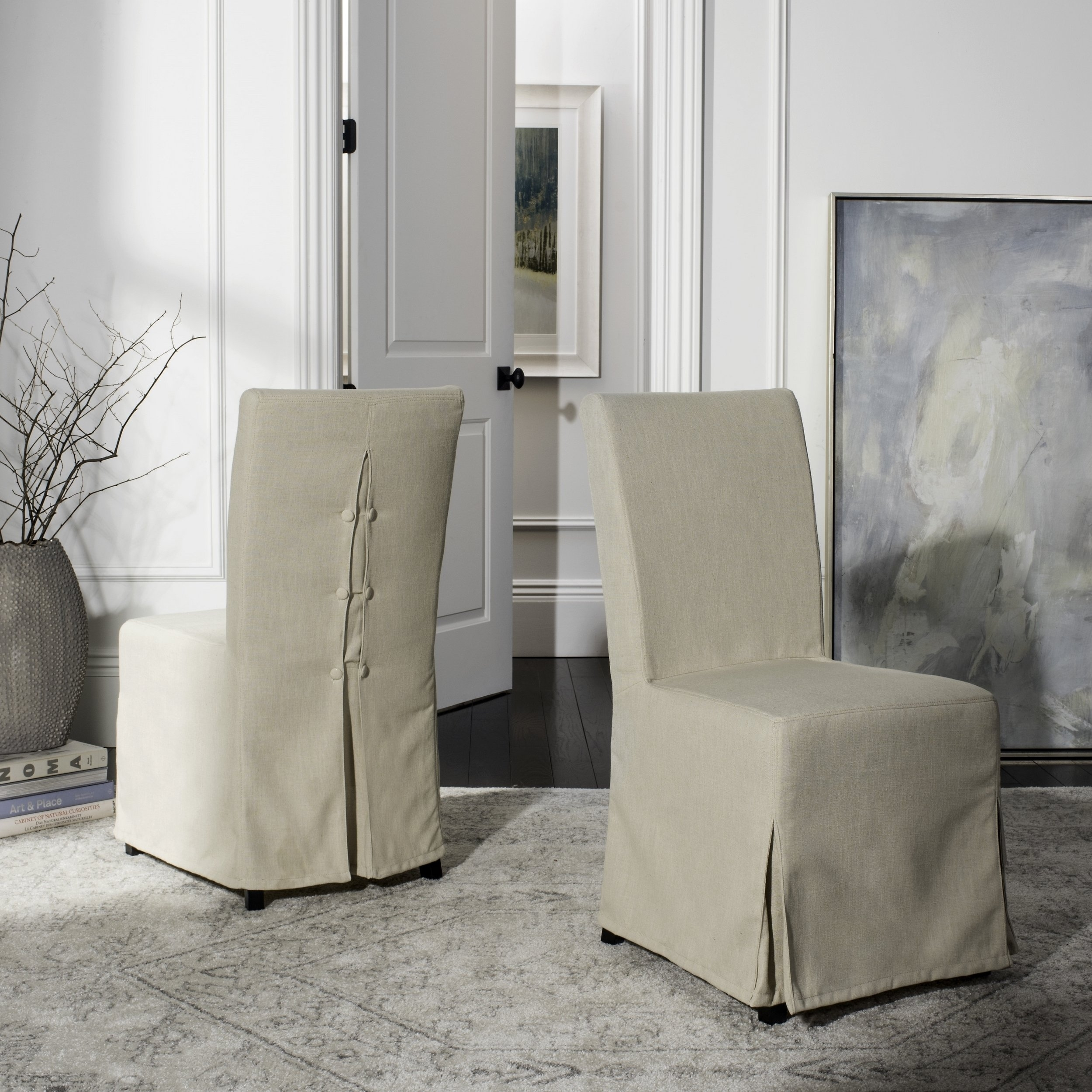 Garten Linen Skirted Side Chairs Set Of 2 Regarding 2018 Shop Safavieh Parsons Dining Slipcover Dining Chairs (Set Of 2) –  (View 7 of 20)