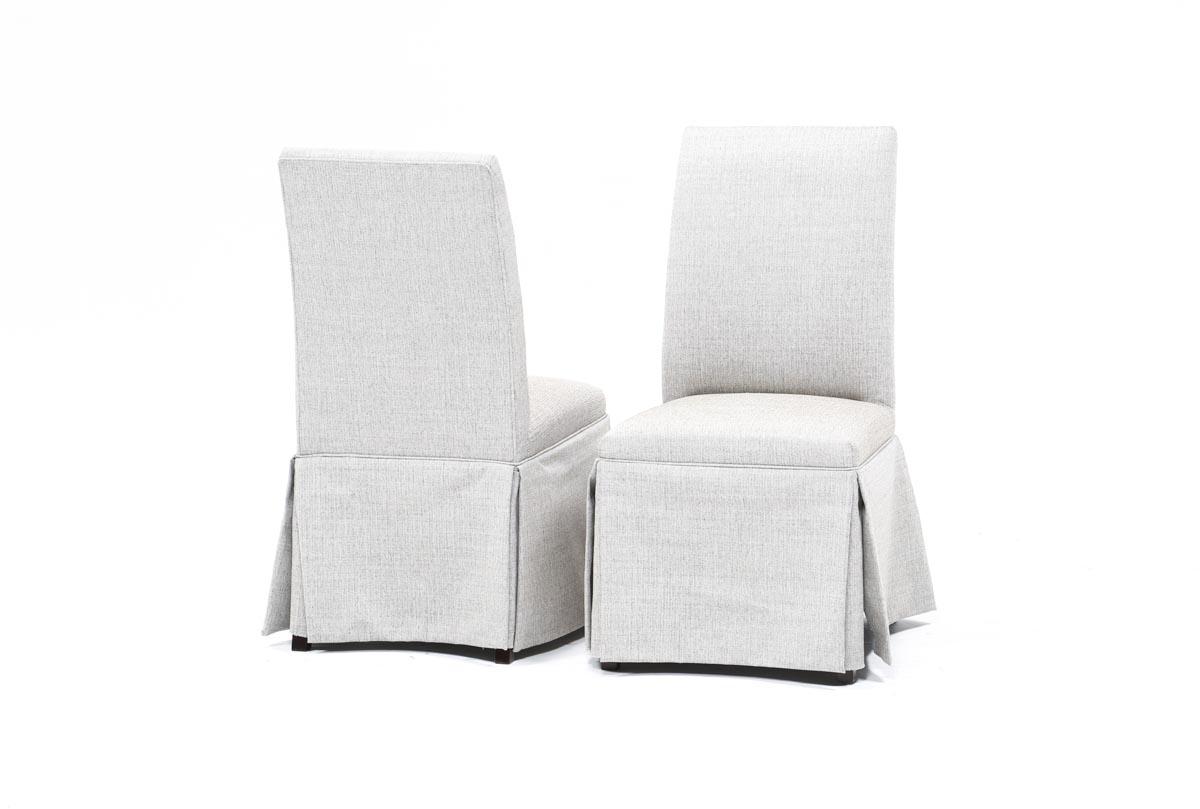 Popular Photo of Garten Linen Skirted Side Chairs Set Of