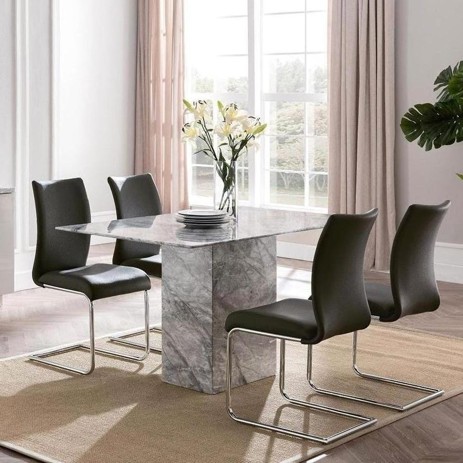 Garten Marble Skirted Side Chairs Set Of 2 Pertaining To 2018 Alfrank Rhodes Marble Dining Set (View 8 of 20)