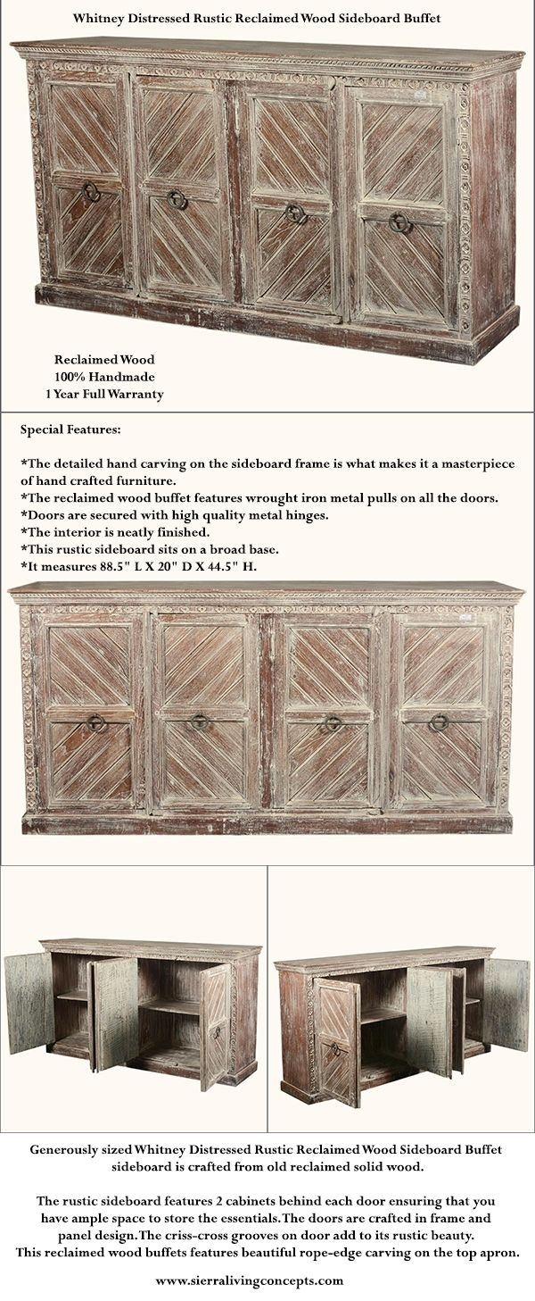 Inspiration about Generously Sized Whitney Distressed Rustic Reclaimed Wood Sideboard With Regard To Most Current Reclaimed Sideboards With Metal Panel (#16 of 20)