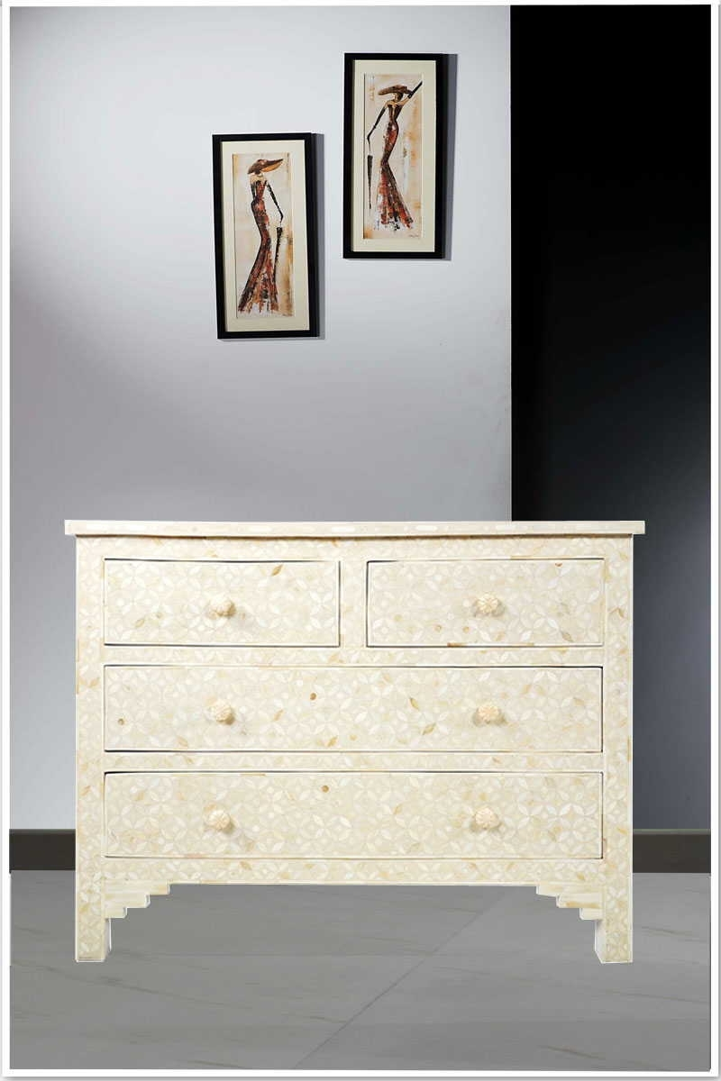 Geometric Pattern Bone Inlay Four Drawer Commode White For Most Recent Geo Pattern Black And White Bone Inlay Sideboards (View 2 of 20)