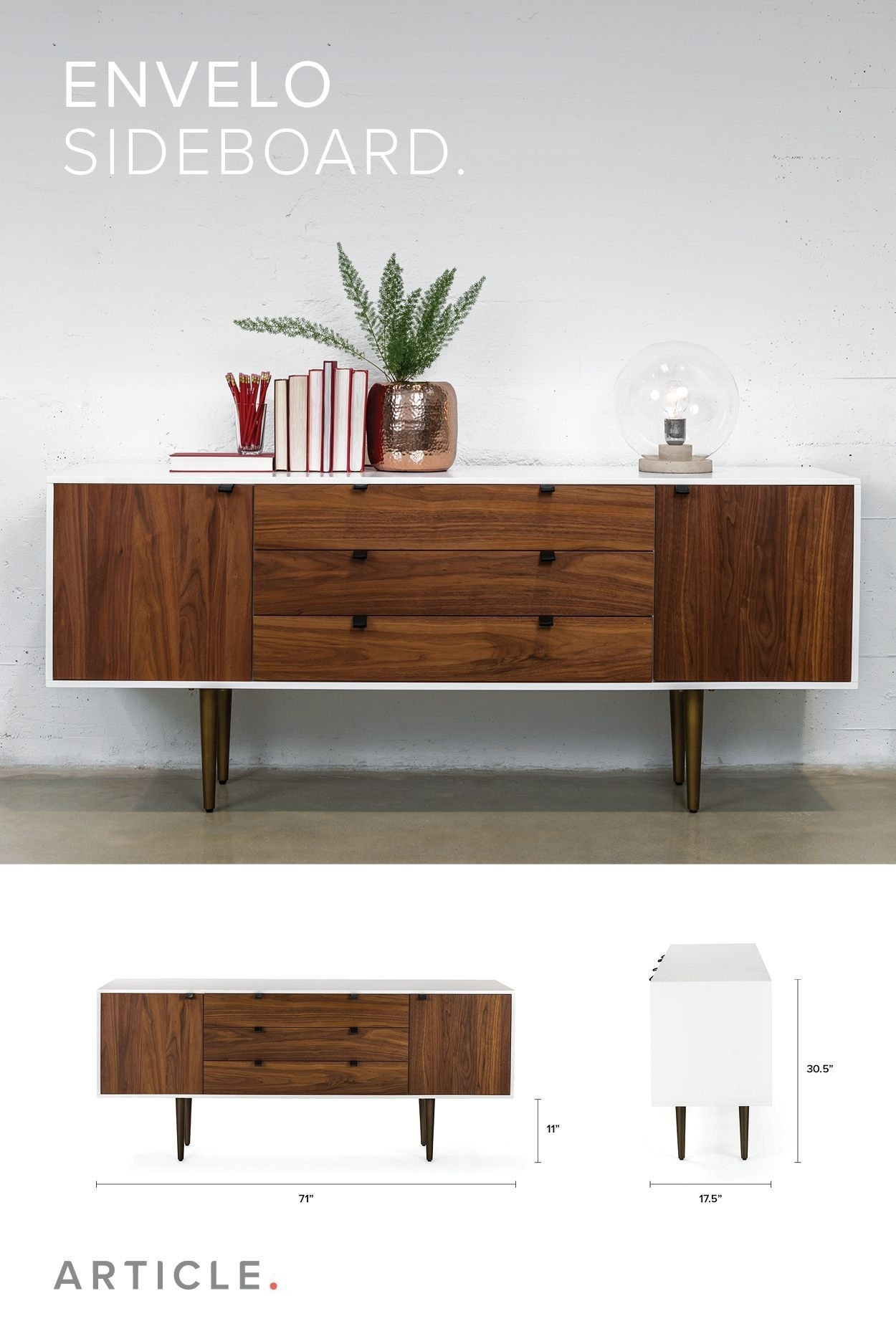 Inspiration about Get Wrapped Up. The Envelo Sideboard Has Walnut Doors And Drawers In 2018 Walnut Finish Crown Moulding Sideboards (#3 of 20)