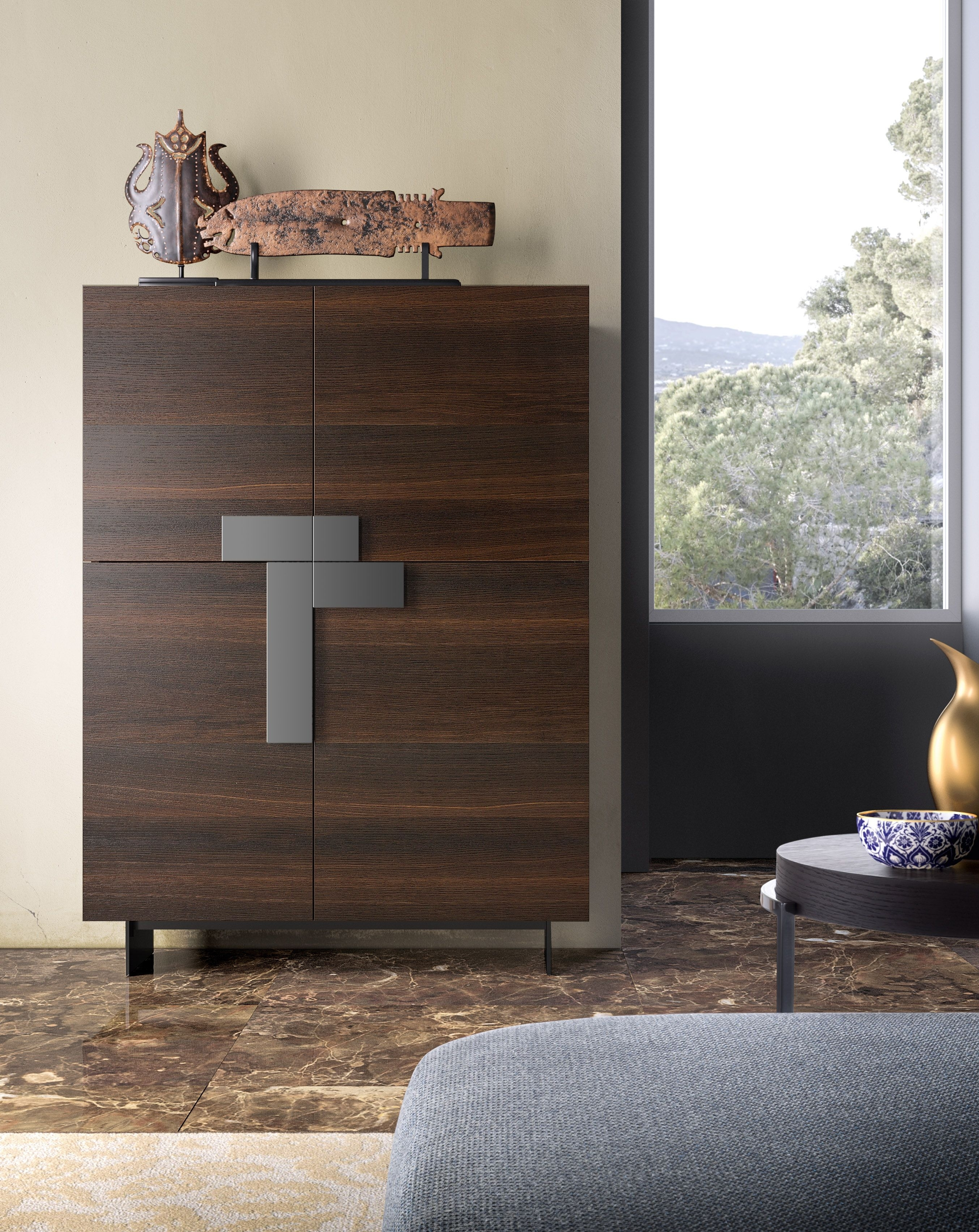 Ginevra Sideboard With Burnt Oak Structure And Fronts, Titanium Pertaining To Recent Black Burnt Oak Sideboards (View 2 of 20)