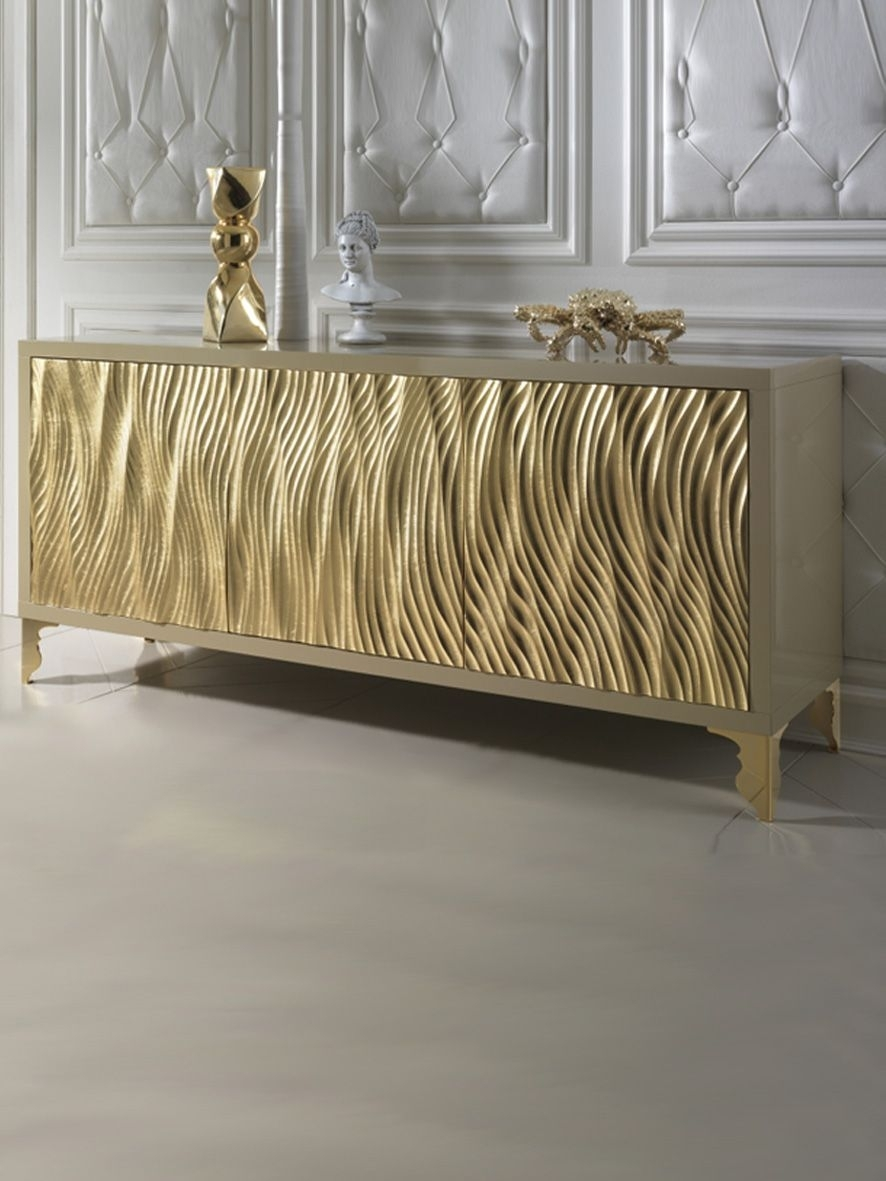 Inspiration about Gold Leaf Wave Fronted Buffet Sideboard | Hall Inspiration Wall Unit With Most Recent Rani 4 Door Sideboards (#18 of 20)
