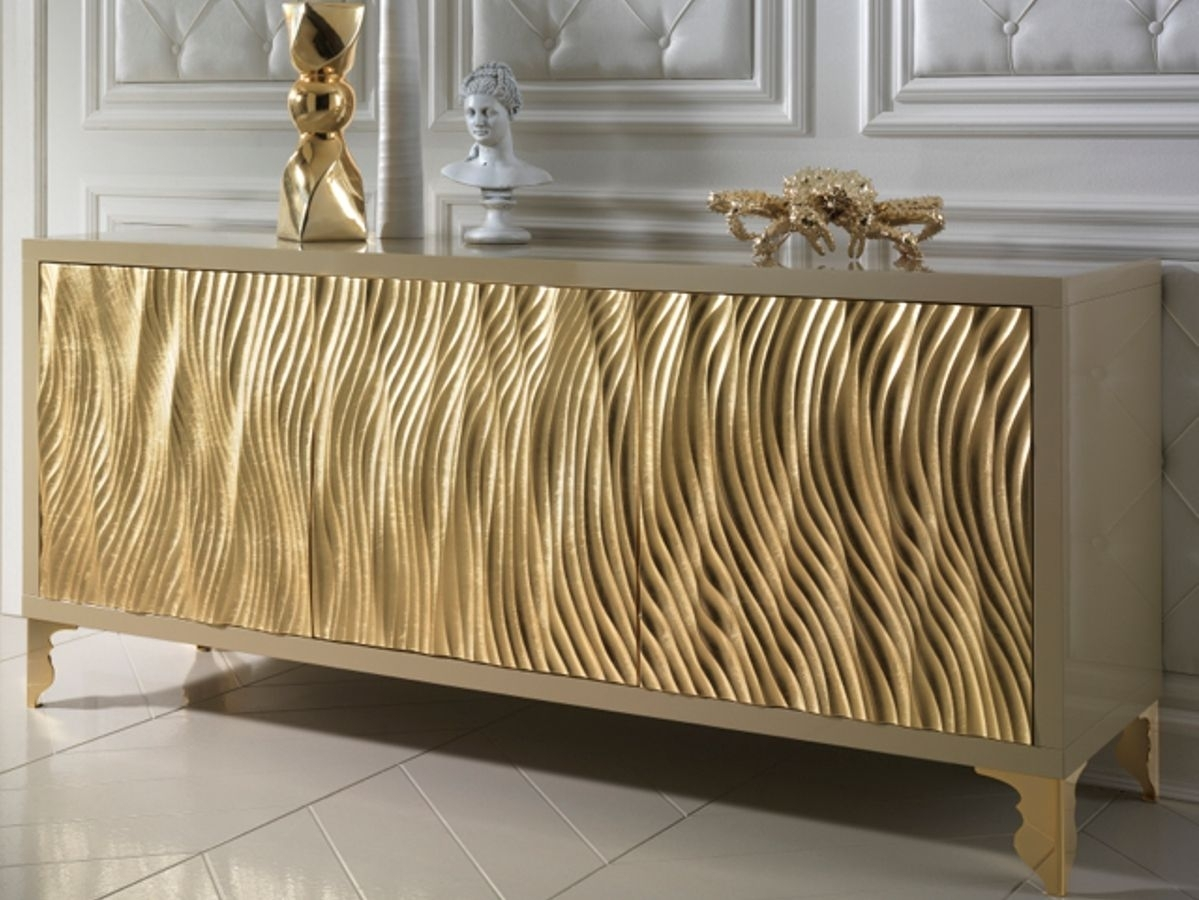 Inspiration about Gold Leaf Wave Fronted Buffet Sideboard | Interior & Exterior Design In Most Current Mid Burnt Oak 71 Inch Sideboards (#12 of 20)