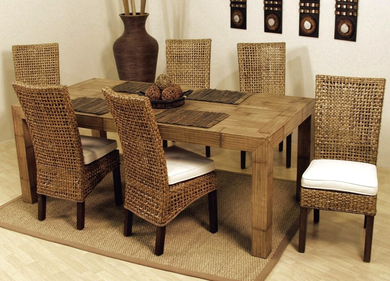 Good Indoor Wicker Dining Chairs For Widely Used Banana Leaf Chairs With Cushion (#10 of 20)