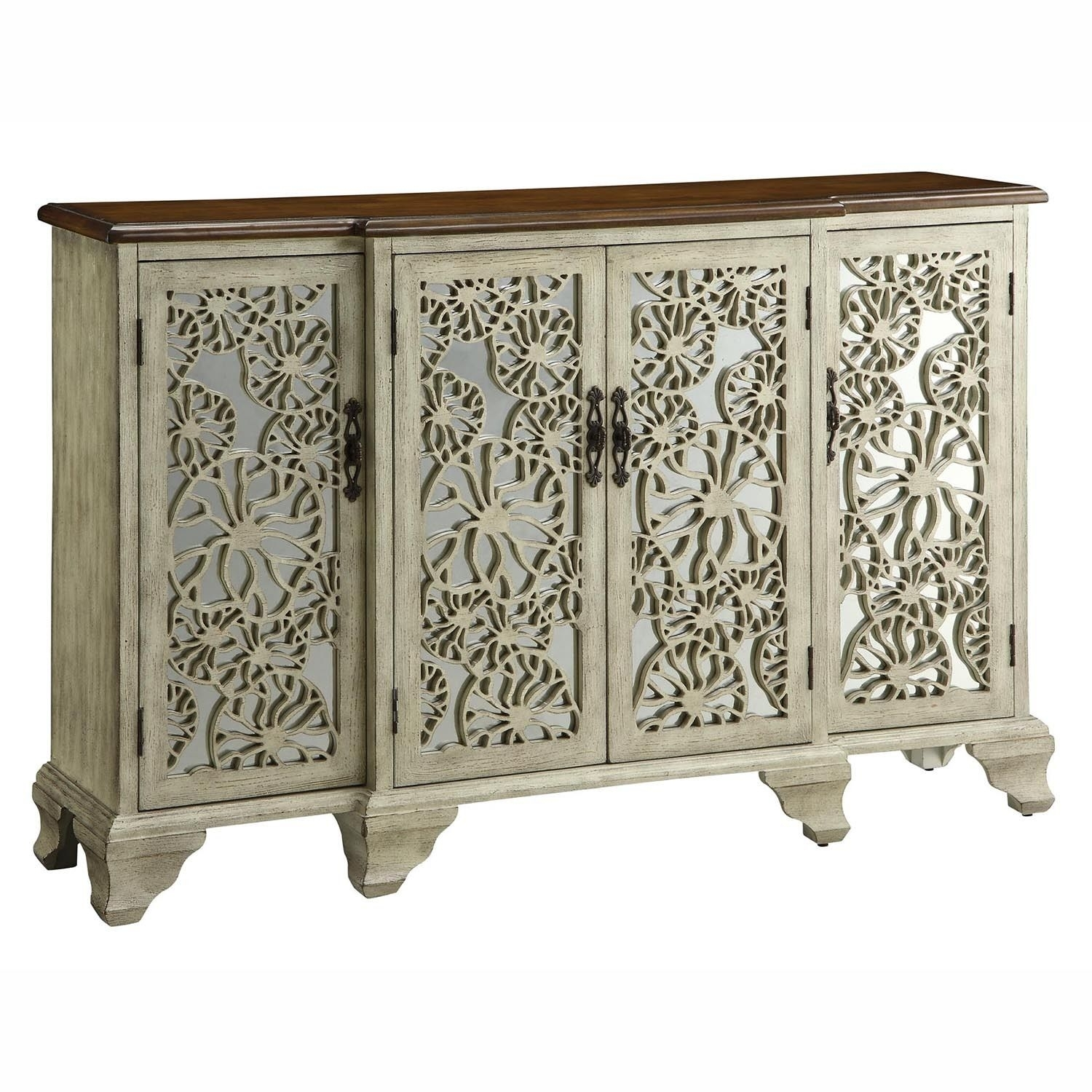 Inspiration about Gorgeous Antique White Wood 4 Mirrored Doors Sideboard Buffet In 2017 Aged Mirrored 4 Door Sideboards (#3 of 20)