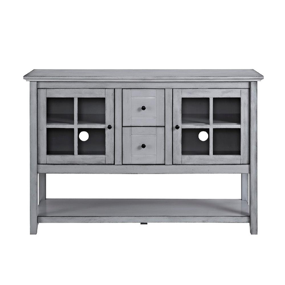 Gray – Sideboards & Buffets – Kitchen & Dining Room Furniture – The Regarding Most Up To Date Black Oak Wood And Wrought Iron Sideboards (#8 of 20)