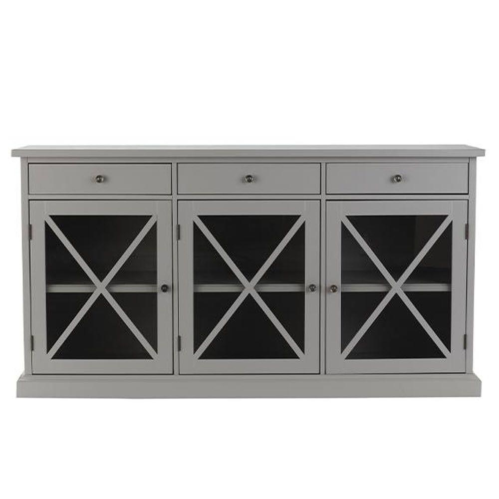 Gray – Sideboards & Buffets – Kitchen & Dining Room Furniture – The With 2017 Black Oak Wood And Wrought Iron Sideboards (#9 of 20)