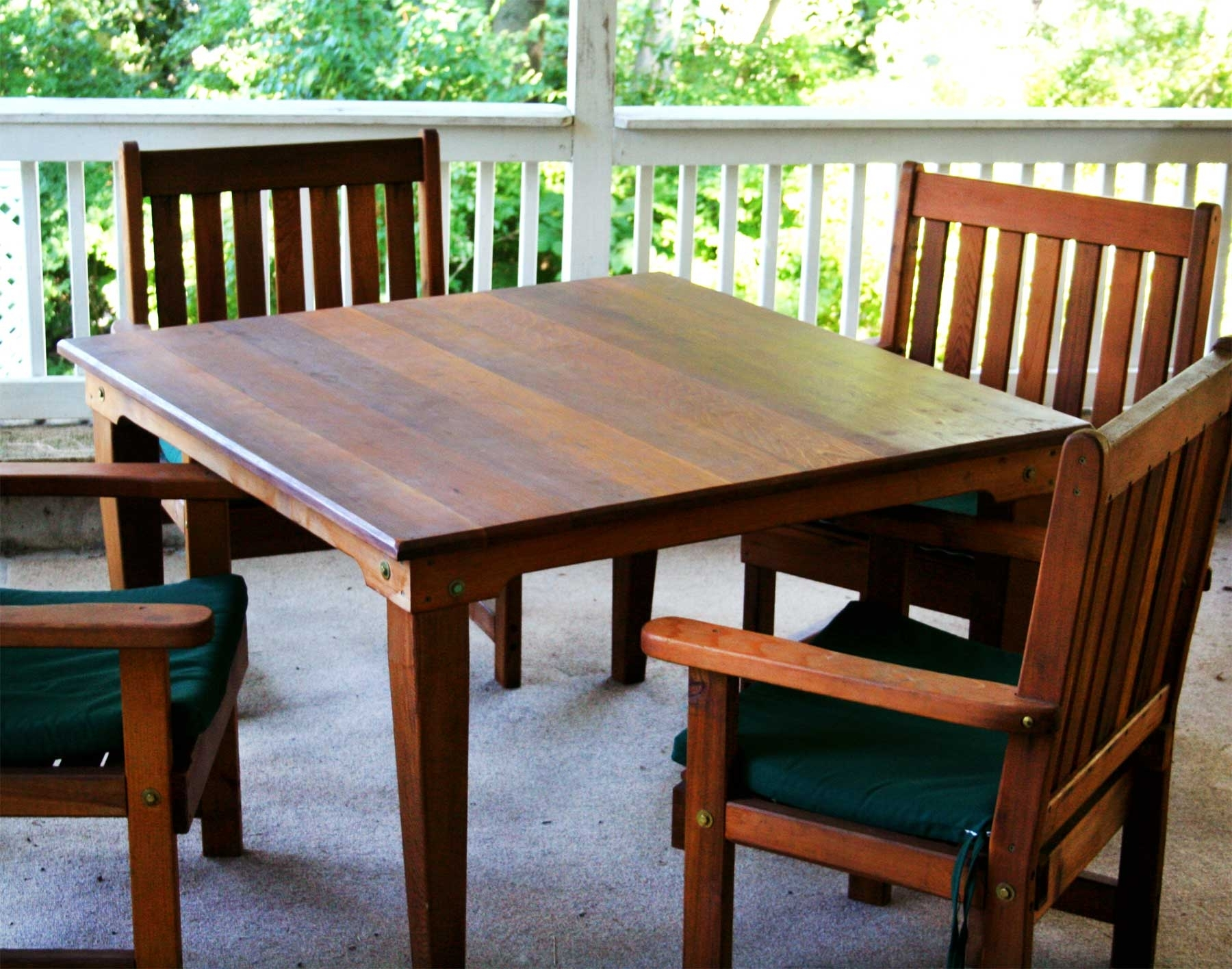 Green Cedar Dining Chairs Throughout Current Red Cedar Square Patio Dining Set (#10 of 20)