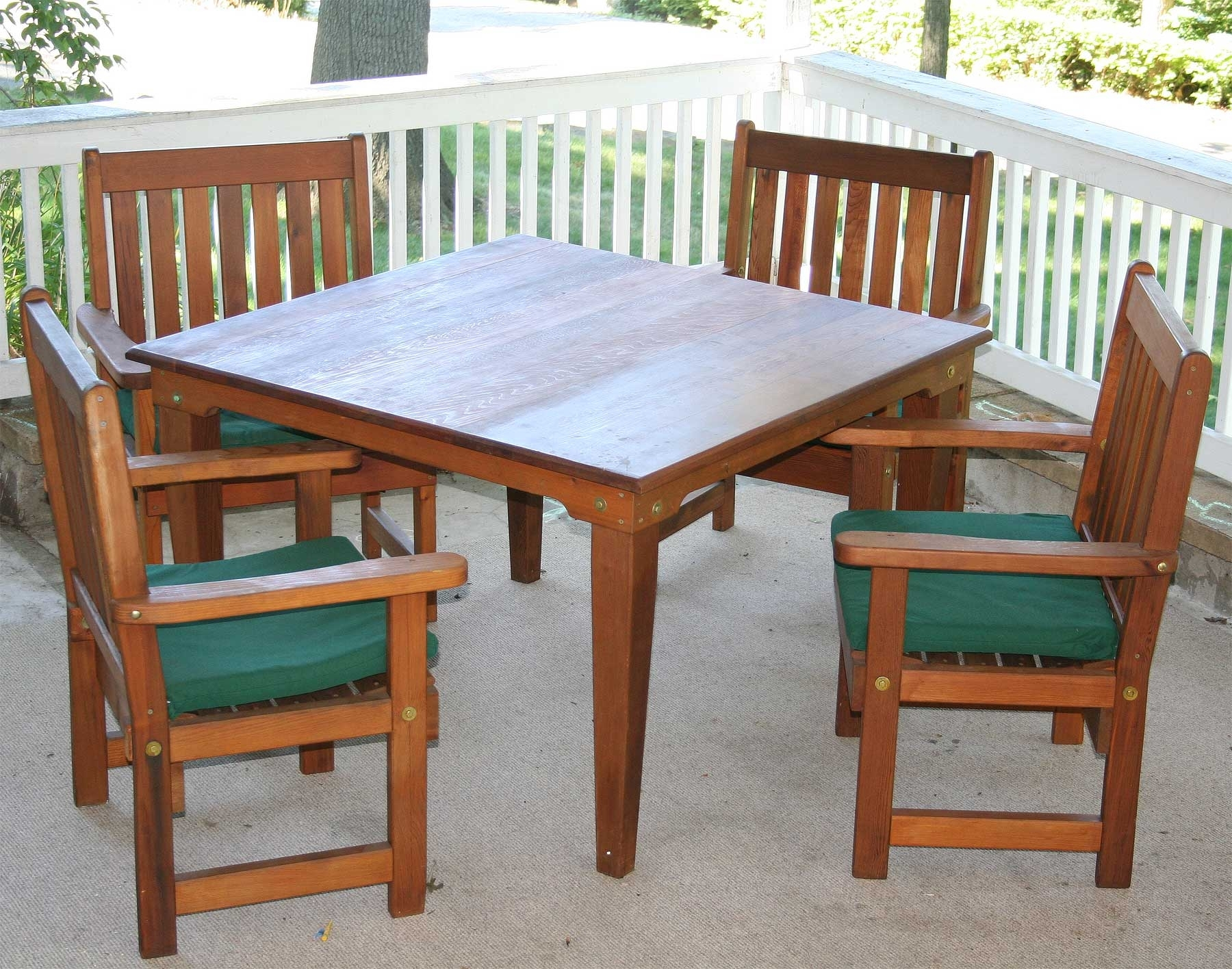 Green Cedar Dining Chairs Within Most Up To Date Red Cedar Square Patio Dining Set (#11 of 20)