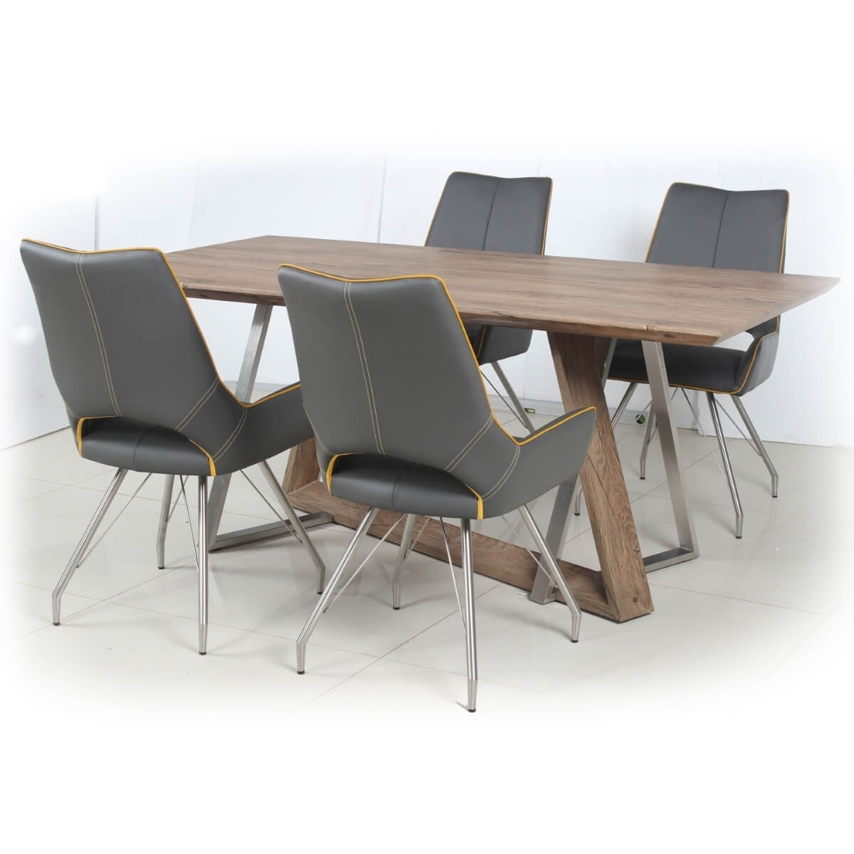 Grey Dining Chairs Regarding Latest Dining Set – Industrial Style Wood Dining Table And 4 Grey Dining (#7 of 20)