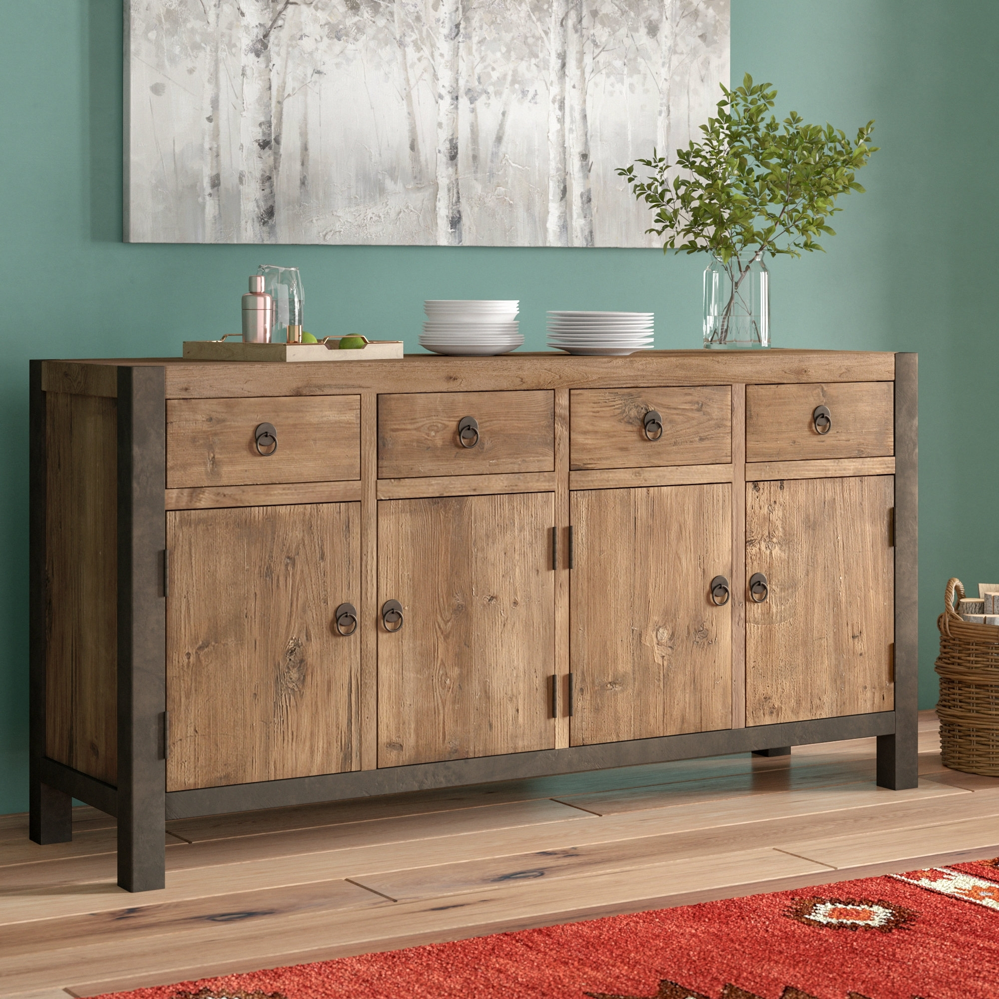 Inspiration about Greyleigh Woodstock Sideboard & Reviews | Wayfair With Recent Reclaimed Pine Turquoise 4 Door Sideboards (#5 of 20)