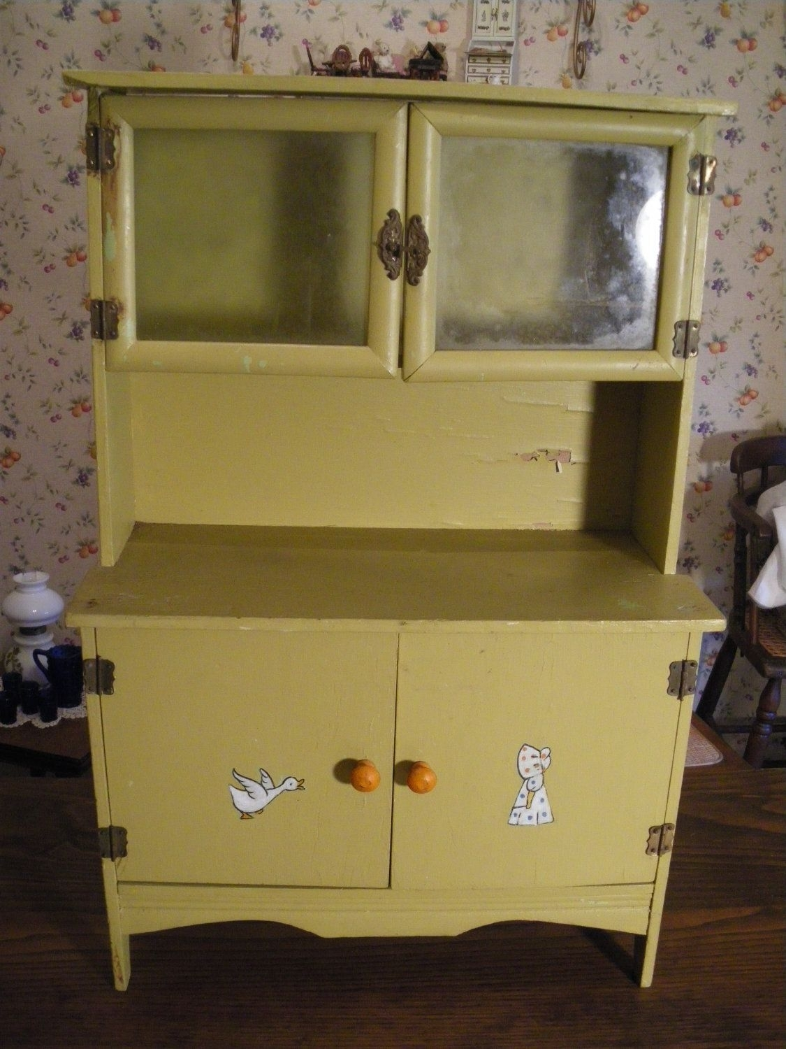 Half Price Sale Antique Child's Kitchen Cabinet Cupboard Hoosier Intended For Latest Rossi Large Sideboards (#9 of 20)