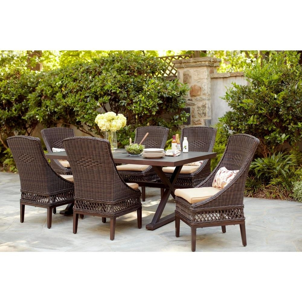Hampton Bay Woodbury 7 Piece Wicker Outdoor Patio Dining Set With Within Latest Green Cedar Dining Chairs (#12 of 20)