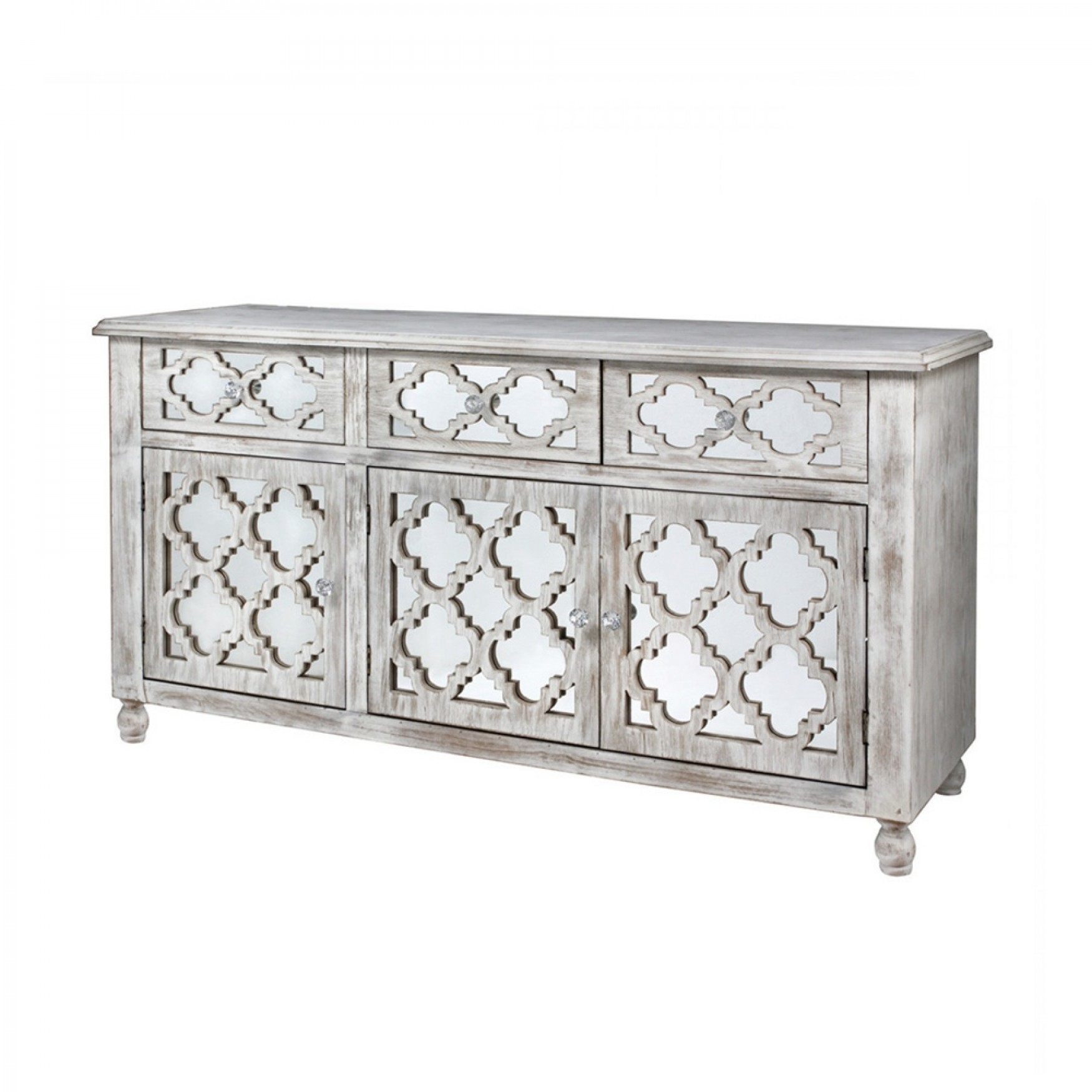 Hampton Beach 3 Door 3 Drawer Cabinet Washed Ash And Mirror Pertaining To Latest 4 Door 3 Drawer White Wash Sideboards (#7 of 20)