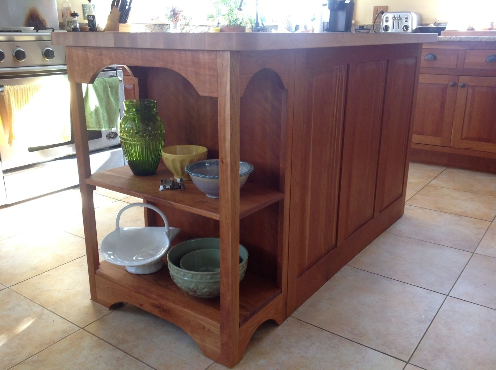 Hand Crafted Custom Designed Cherry Island With Maple Butcher Block In Recent Hartigan 2 Door Sideboards (View 20 of 20)