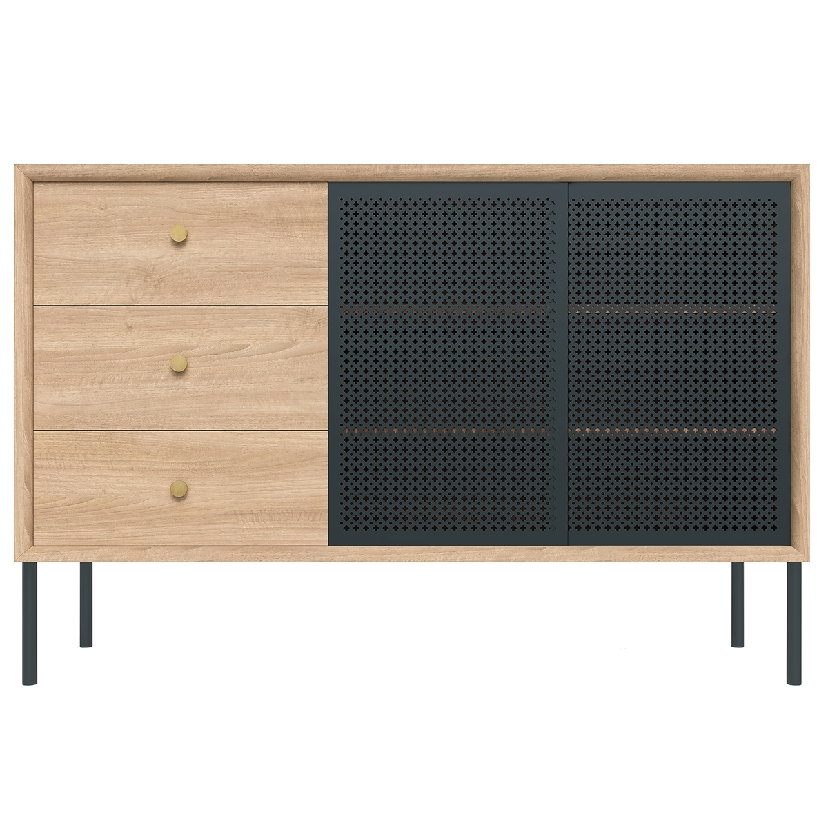 Harto Gabin Sideboard With Drawers, High, Oak – Slate Grey | Finnish With Most Recent Open Shelf Brass 4 Drawer Sideboards (View 19 of 20)
