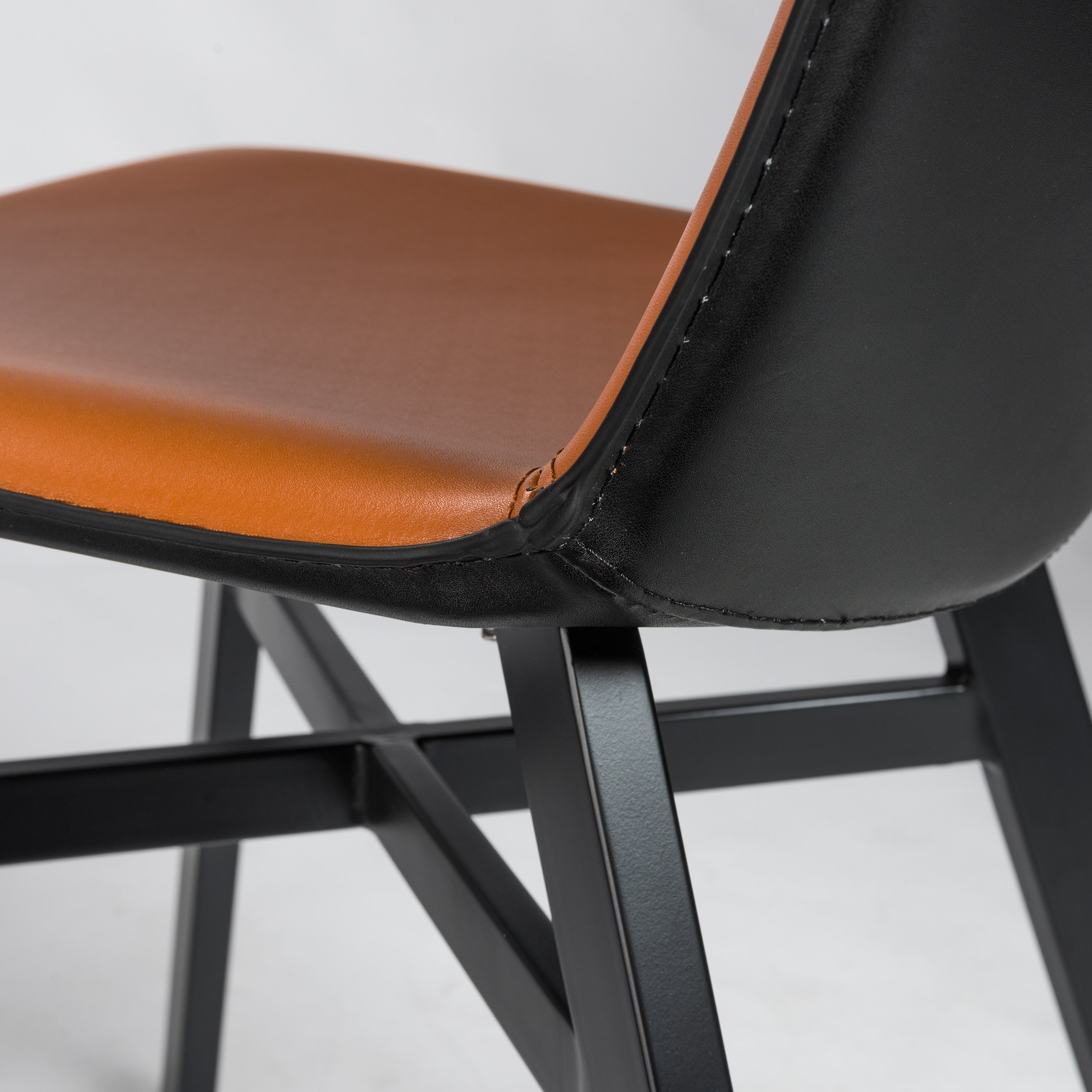 Hayden Cognac Side Chairs Regarding Newest Octavia Cognac And Black Regenerated Leather Side Chair (Set Of  (View 5 of 20)