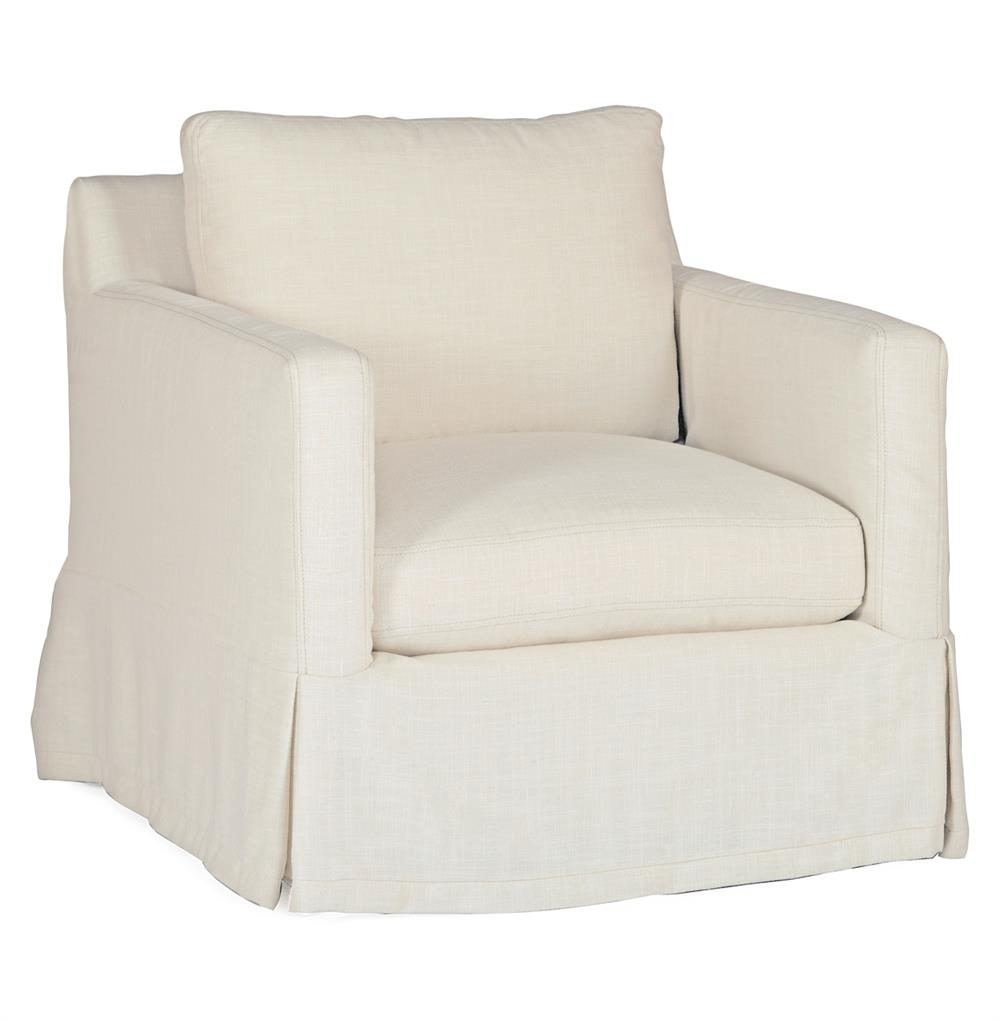 Hayes Casual Classic Ivory Linen Slipcover Swivel Arm Chair Intended For Well Known Hayes Side Chairs (#7 of 20)