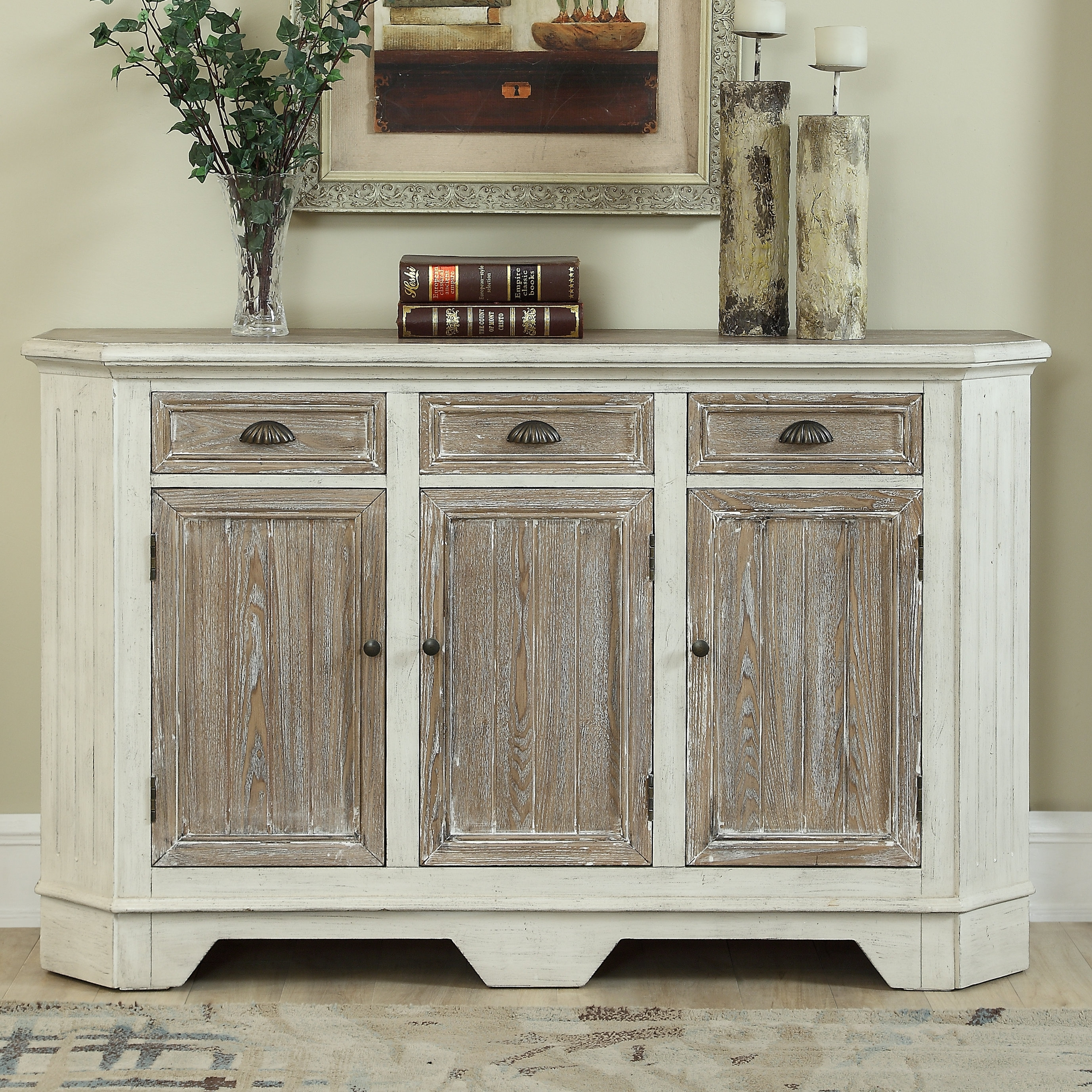 Highland Dunes Funkhouser 3 Door 3 Drawer Sideboard | Wayfair Pertaining To Best And Newest Solar Refinement Sideboards (#8 of 20)