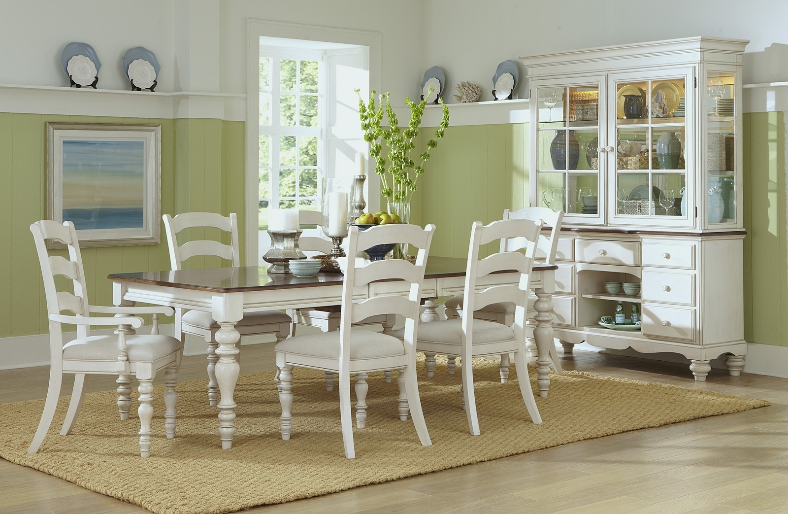 Hillsdale Pine Island 7 Pc Dining Set With Ladder Back Chairs – Old Pertaining To Trendy Pine Wood White Dining Chairs (#6 of 20)