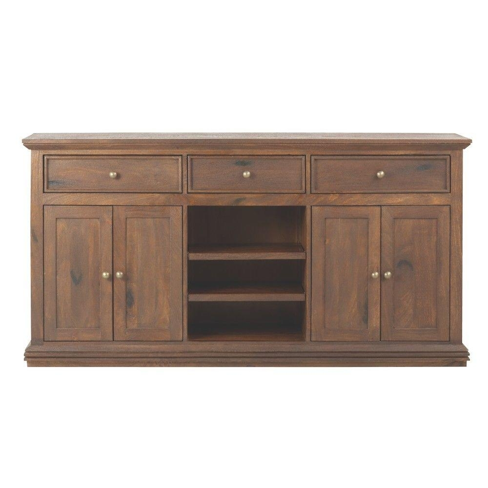 Home Decorators Collection Aldridge Antique Walnut Buffet 9415000960 In Latest Open Shelf Brass 4 Drawer Sideboards (View 2 of 20)