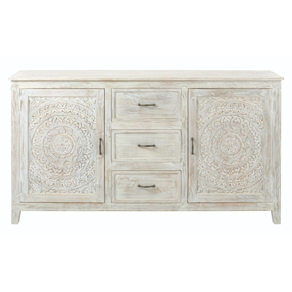 Home Decorators Collection Chennai 3 Drawer White Wash Dresser Within Best And Newest 3 Drawer/2 Door White Wash Sideboards (View 2 of 20)