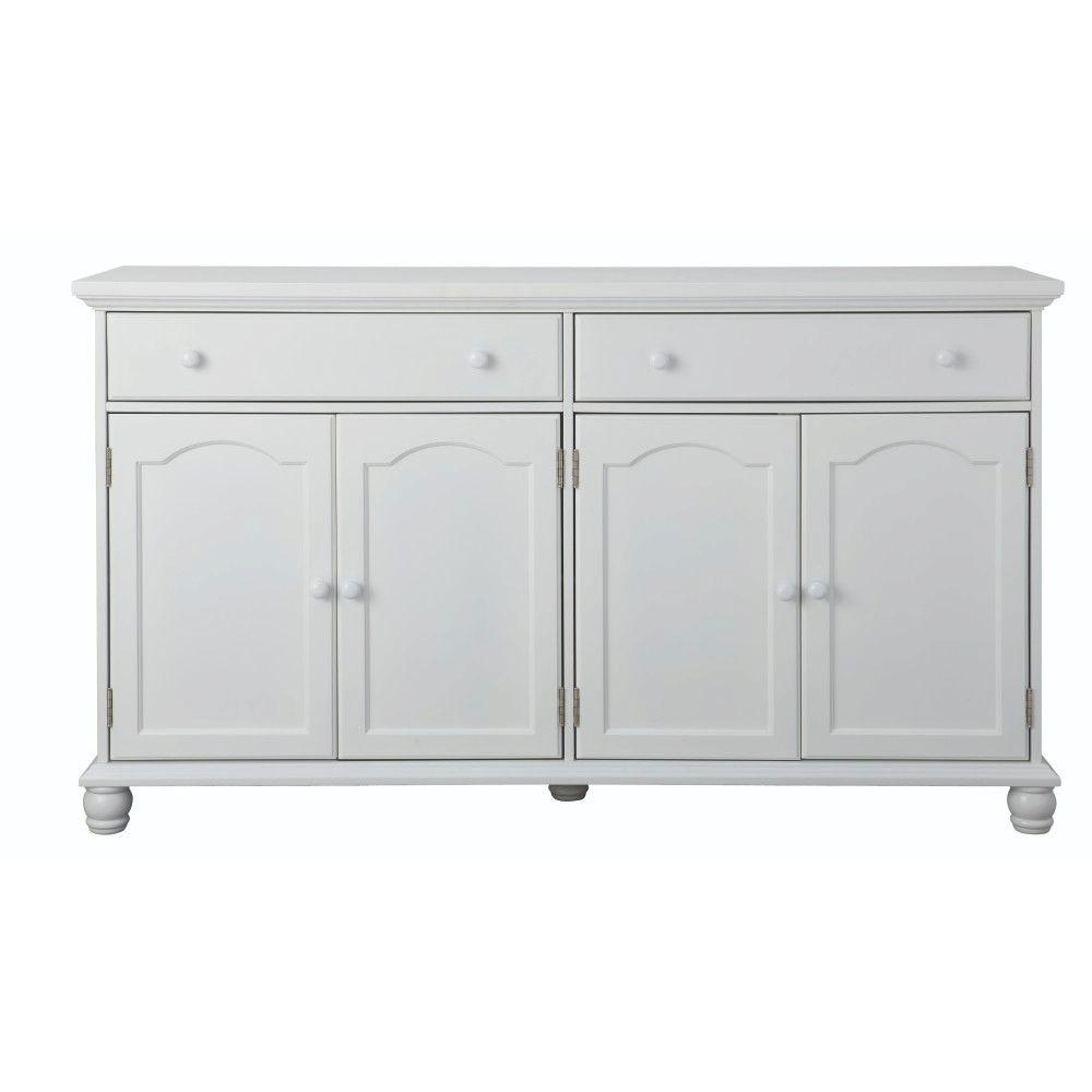 Home Decorators Collection Harwick Antique White Buffet Bf 23034 Wh Throughout Most Up To Date Antique White Distressed 3 Drawer/2 Door Sideboards (#7 of 20)