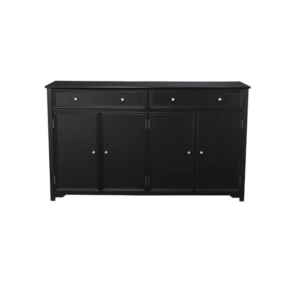 Home Decorators Collection Oxford 2 Drawer Wood In Buffet In Black Intended For Most Recently Released Helms Sideboards (View 14 of 20)