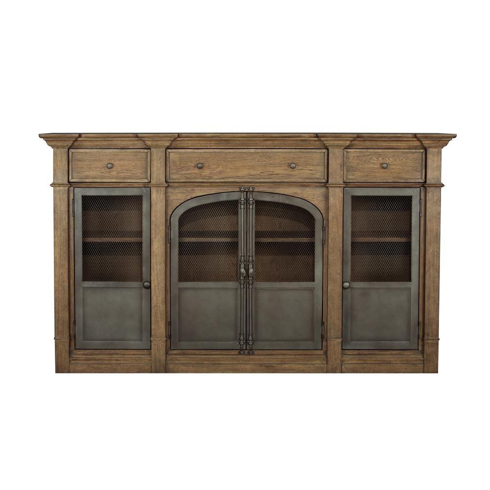 Homefare Metal Door Light Oak Sideboard D192 008 – The Home Depot Within Most Recently Released Aged Mirrored 2 Door Sideboards (#13 of 20)