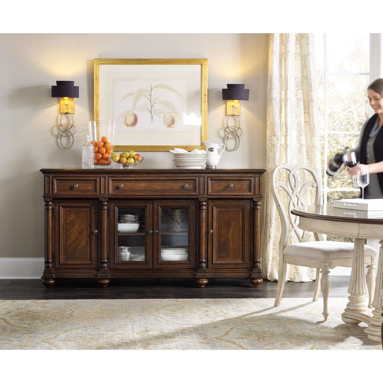 Hooker Furniture Leesburg Dark Wood Buffet 5381 75900   Bellacor Within 2017 Brown Wood 72 Inch Sideboards (#10 of 20)