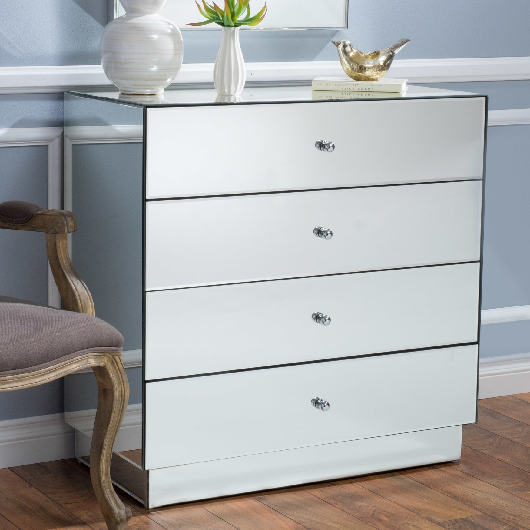 House Of Hampton Rafe 4 Drawer Mirrored Chest | Wayfair In Most Recently Released Helms Sideboards (View 8 of 20)