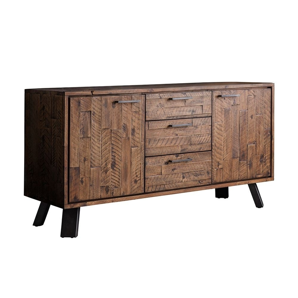 Houseology Collection Carnaby 2 Door 3 Drawer Sideboard Rustic Brown Pertaining To Newest Acacia Wood 4 Door Sideboards (#4 of 20)