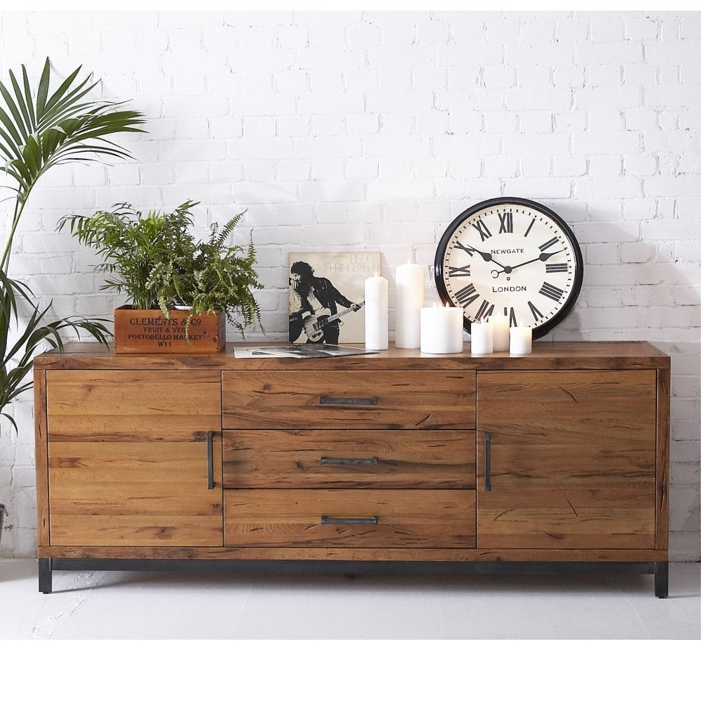 Hudson Industrial 2 Door 3 Drawer Sideboard – Azura Home Style Pertaining To Newest Industrial 3 Drawer 3 Door Sideboards (#9 of 20)