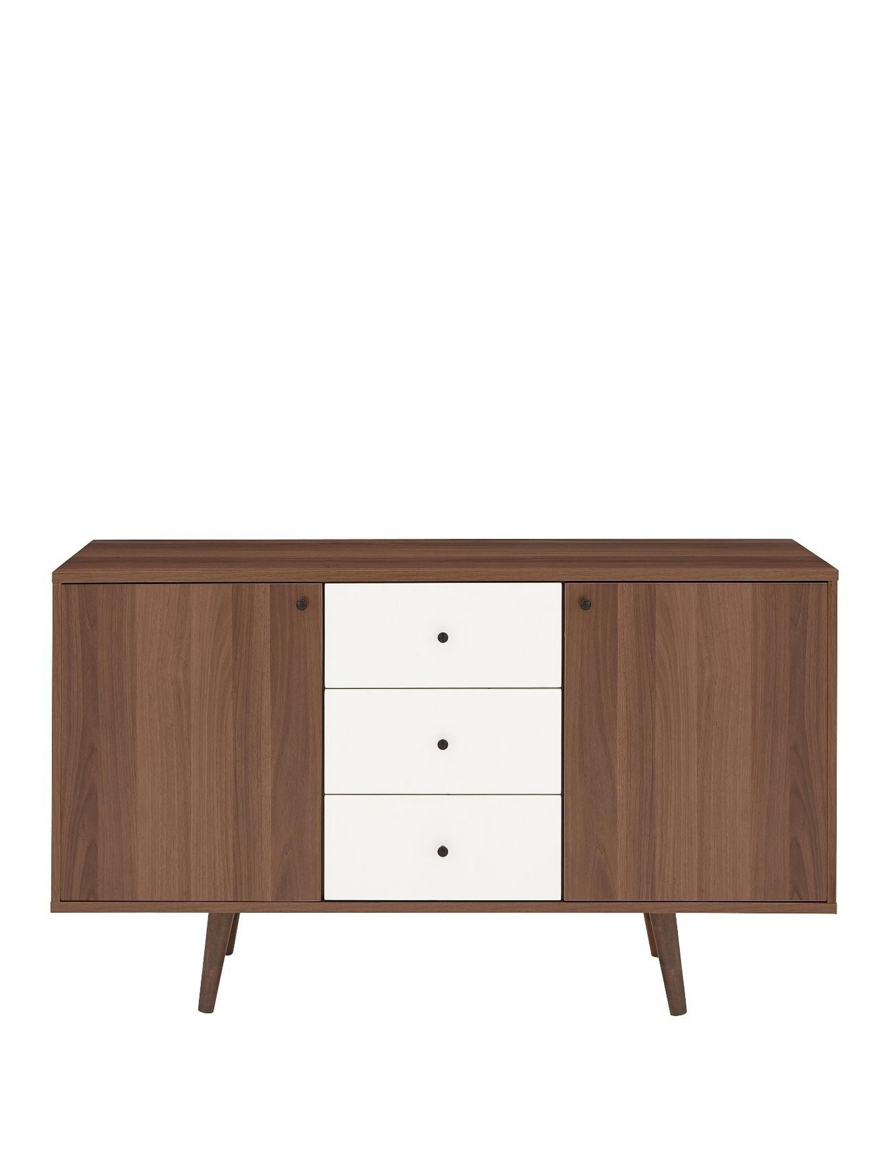 Inspiration about Ideal Home Monty Retro Large Sideboard | White Drawers, Mid Century With Most Recently Released Walnut Finish 2 Door/3 Drawer Sideboards (#3 of 20)