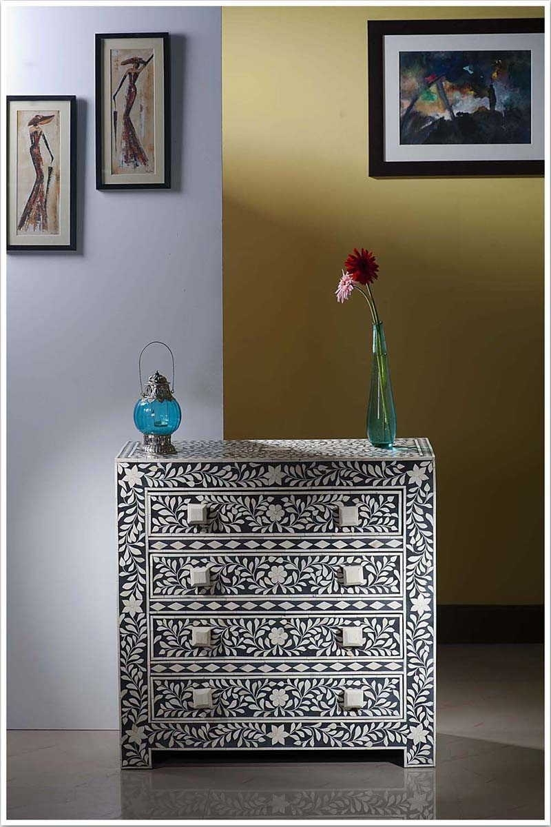In United Arab Emirate Dubai Black Bone Inlay Four Drawer Chest With Regard To 2017 Geo Pattern Black And White Bone Inlay Sideboards (View 10 of 20)
